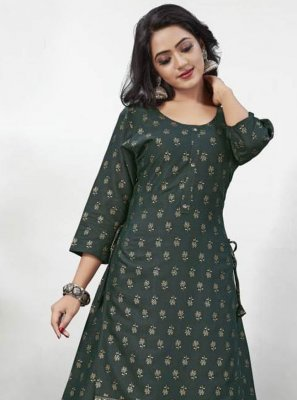 Foil Print Rayon Party Wear Kurti in Green