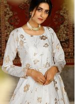 Foil Print Tafeta Silk Designer Gown
