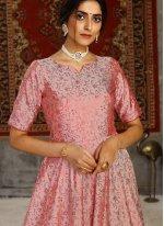 Foil Print Tafeta Silk Designer Gown in Pink