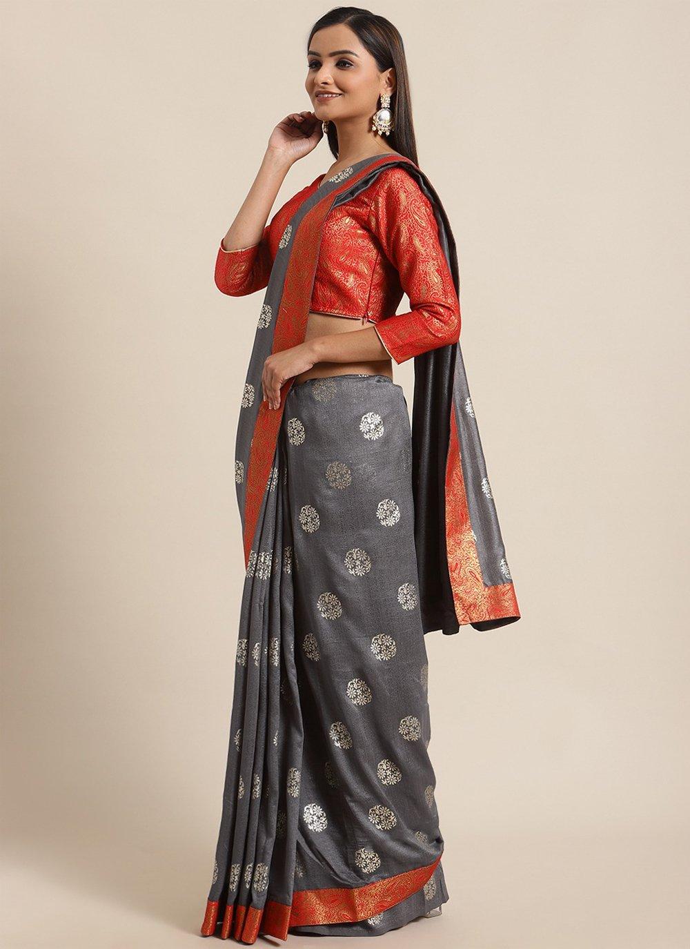 Foil Print Traditional Saree