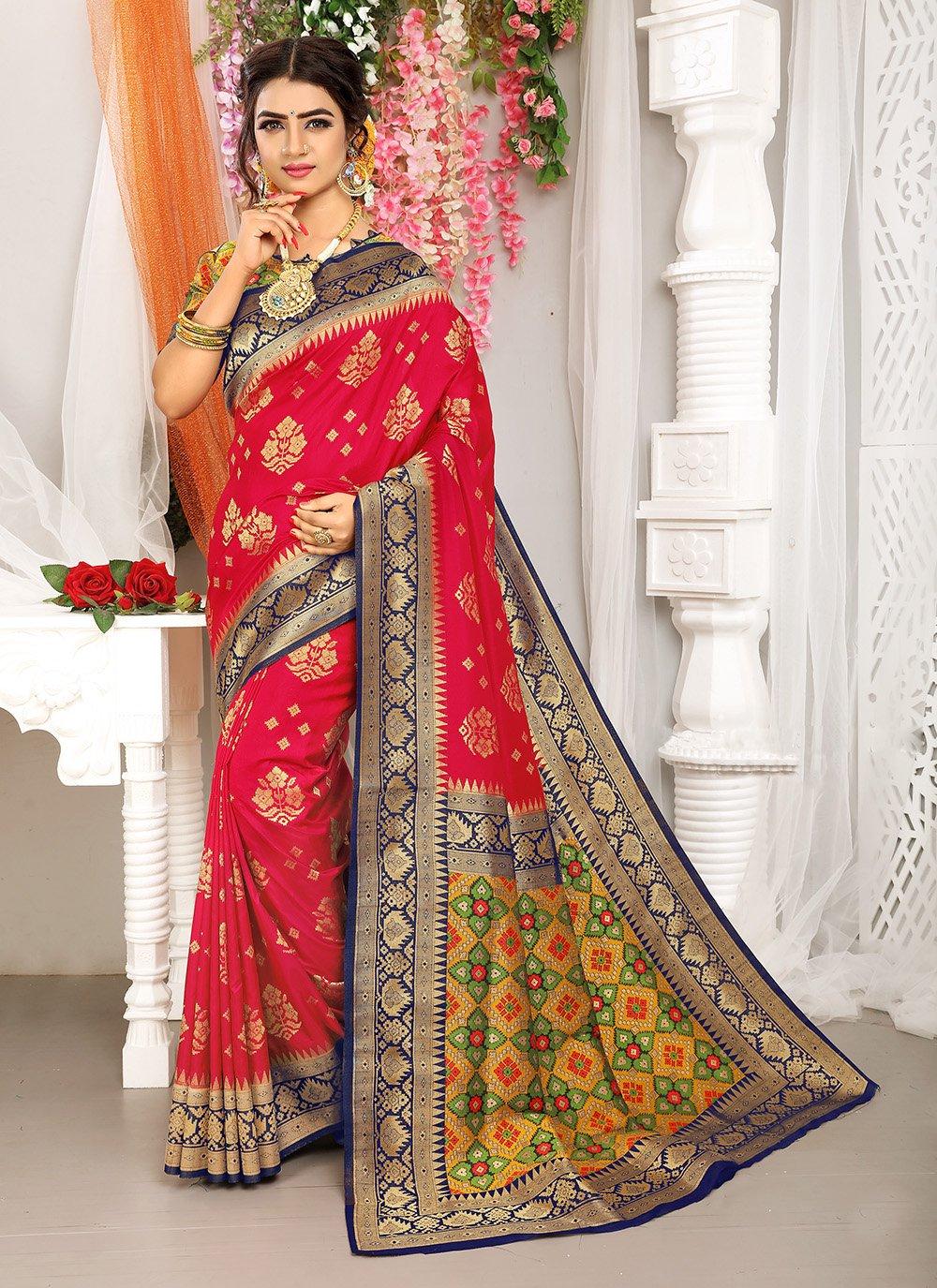 Fuchsia Art Silk Engagement Traditional Saree