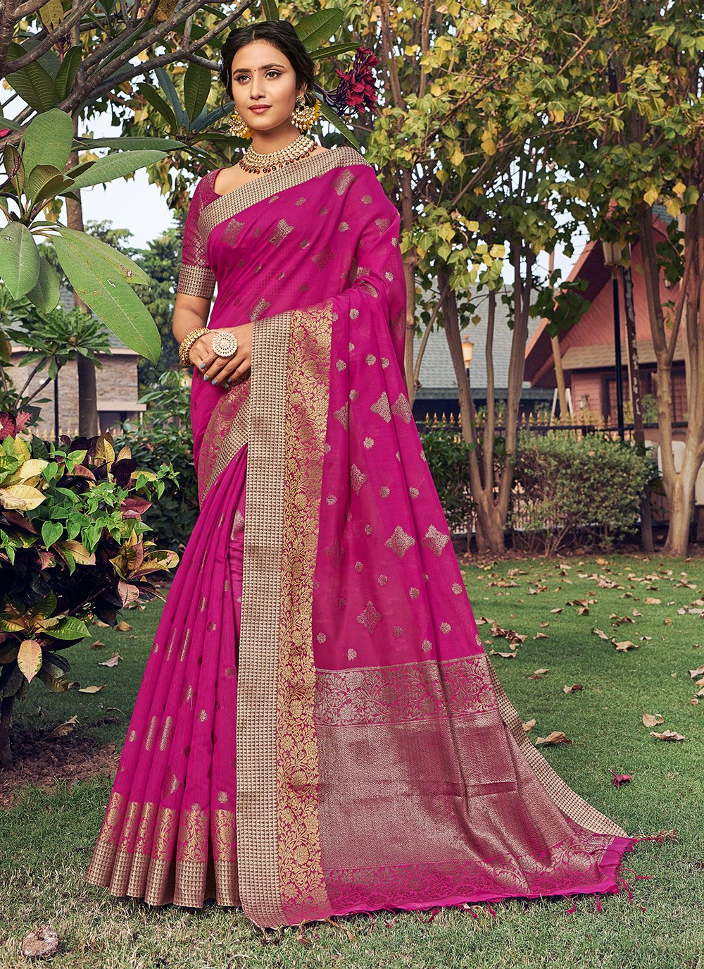 Fuchsia Color Designer Traditional Saree