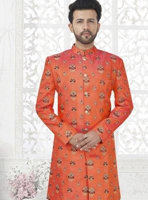 Fuchsia Embroidered Art Silk Sherwani