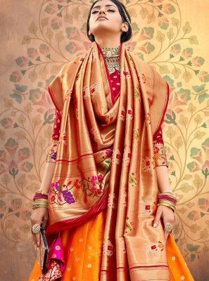 Georgette A Line Lehenga Choli in Orange