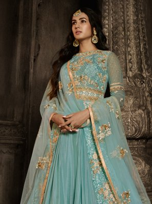 Georgette Aqua Blue Embroidered Trendy Salwar Kameez