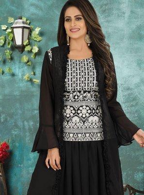 Georgette Black Embroidered Designer Suit