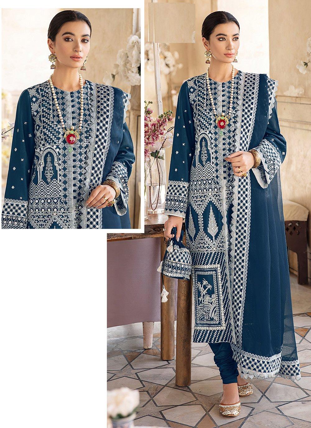 Georgette Blue Embroidered Churidar Designer Suit