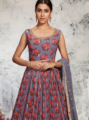 Georgette Blue Floor Length Anarkali Suit