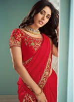 Georgette Bollywood Saree in Red