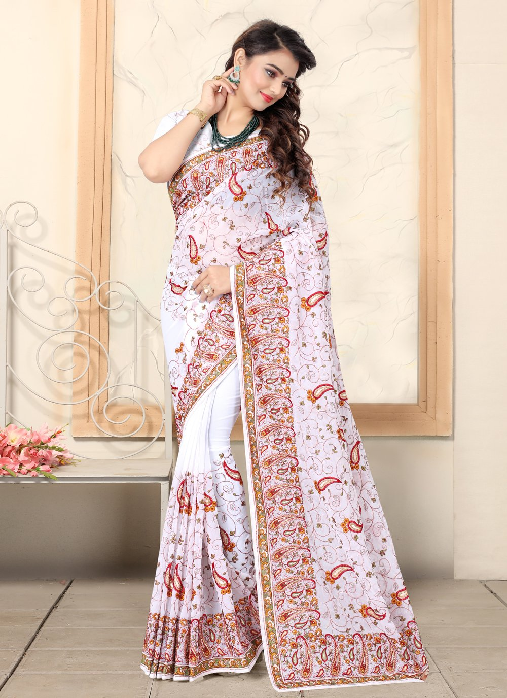Georgette Bollywood Saree in White