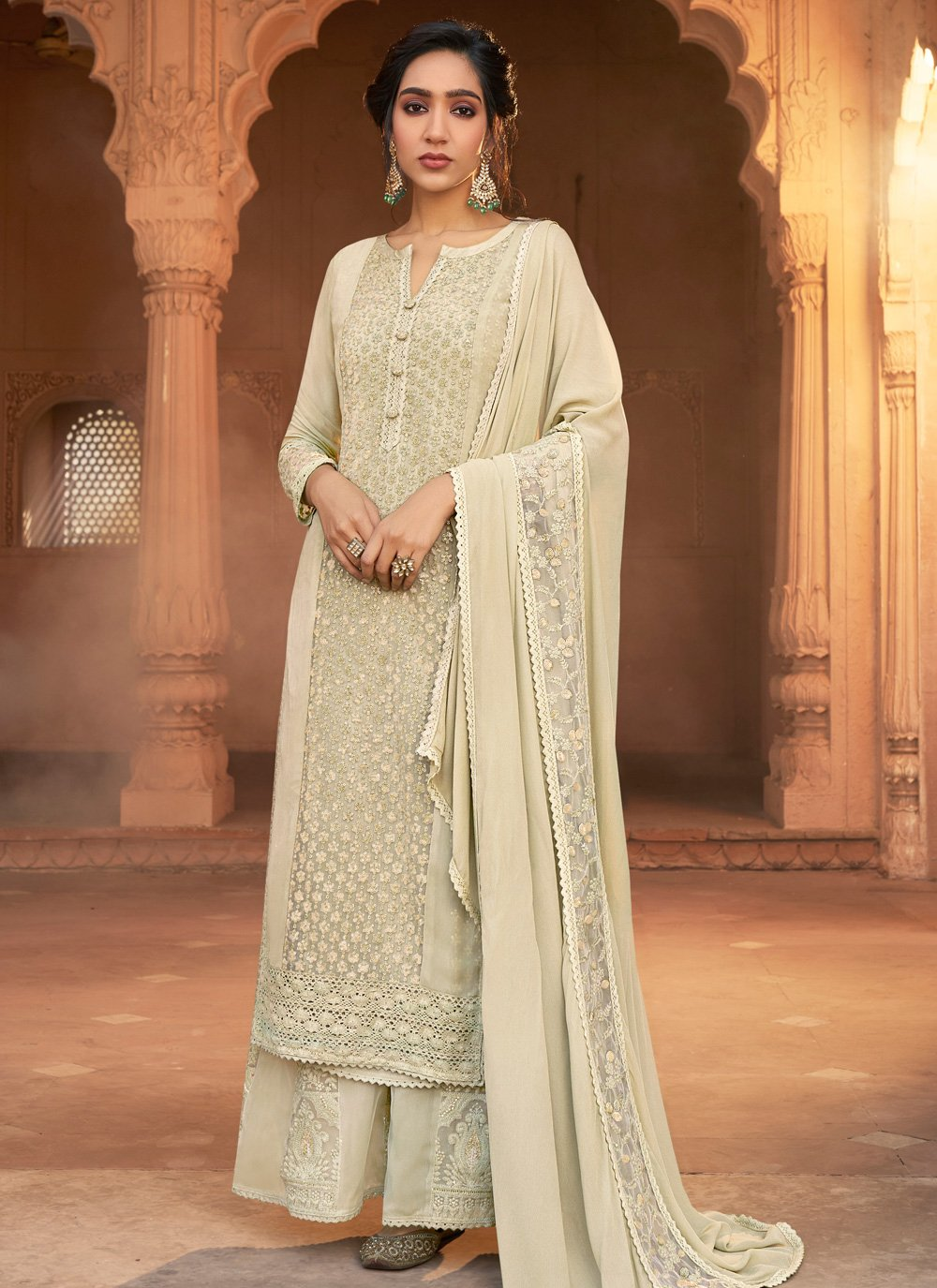 Georgette Designer Pakistani Suit in Off White
