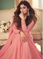 Georgette Embroidered Anarkali Salwar Kameez in Pink
