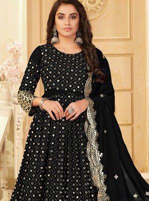 Georgette Embroidered Black Designer Salwar Suit