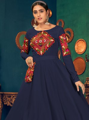 Georgette Embroidered Blue Floor Length Gown
