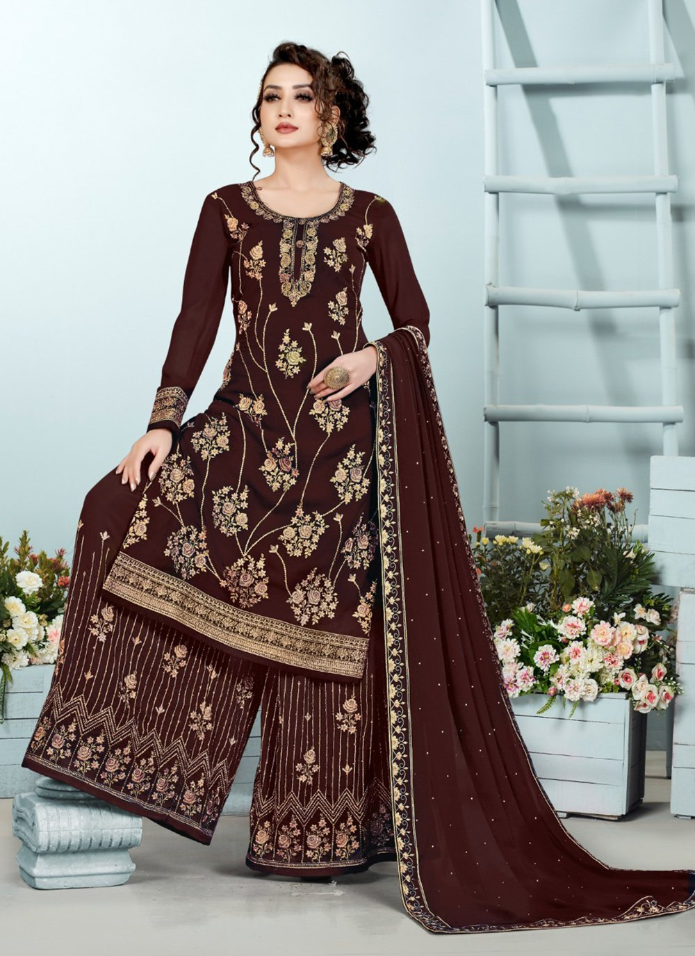 Georgette Embroidered Designer Pakistani Suit in Brown
