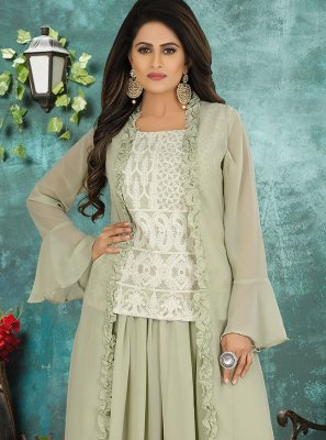 Georgette Embroidered Designer Suit in Green