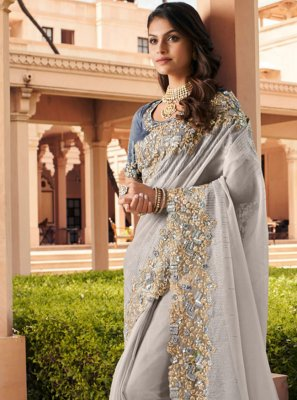Georgette Embroidered Grey Contemporary Saree