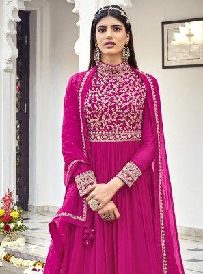 Georgette Embroidered Magenta Floor Length Anarkali Salwar Suit
