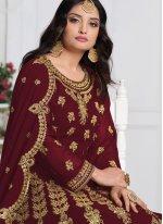 Georgette Embroidered Maroon Bollywood Salwar Kameez