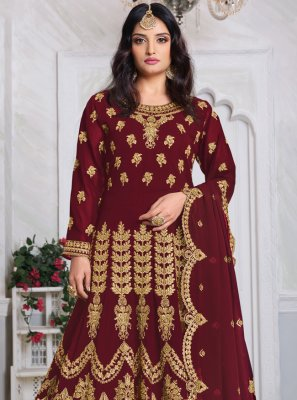 Georgette Embroidered Maroon Bollywood Salwar Kameez