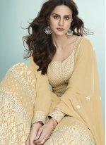 Georgette Embroidered Mustard Bollywood Salwar Kameez