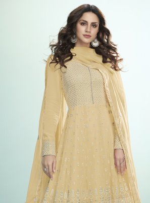 Georgette Embroidered Mustard Bollywood Salwar Kameez