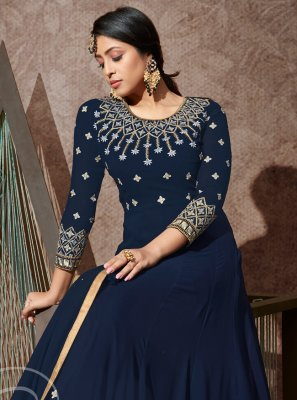 Georgette Embroidered Navy Blue Bollywood Salwar Kameez