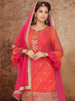Georgette Embroidered Orange and Pink Readymade Suit