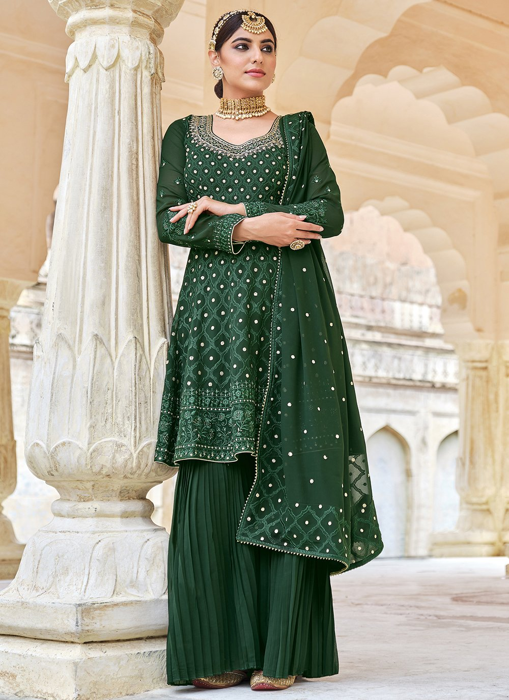 Georgette Embroidered Palazzo Salwar Kameez in Green