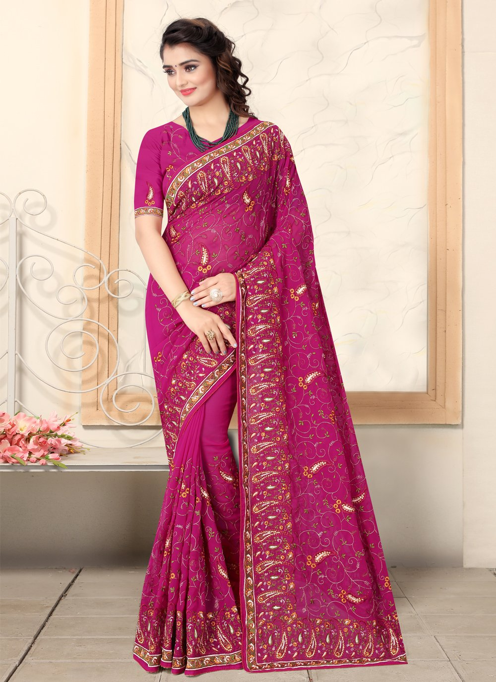 Georgette Embroidered Pink Bollywood Saree
