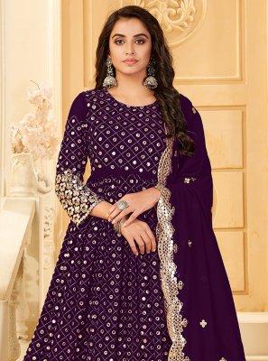 Georgette Embroidered Purple Trendy Salwar Suit