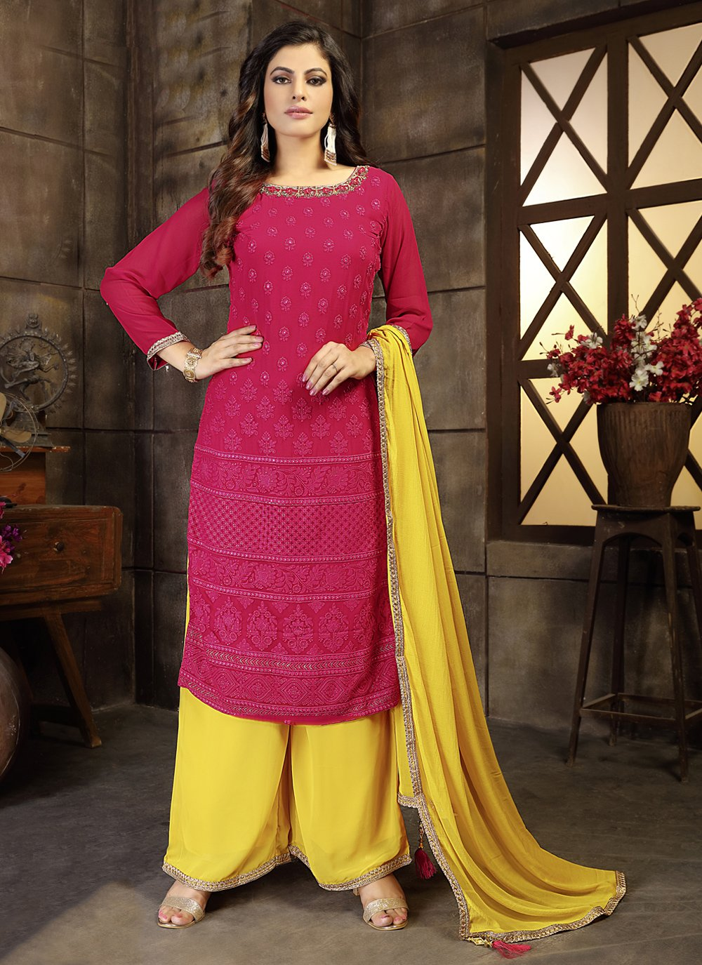 Georgette Embroidered Rani Readymade Suit