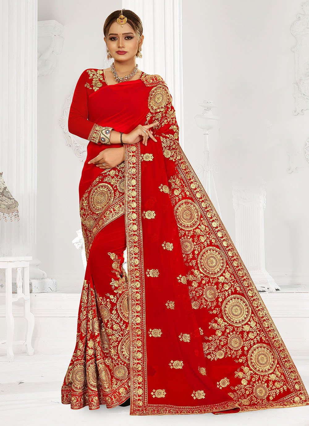 Georgette Embroidered Red Designer Bridal Sarees