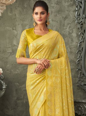 Georgette Embroidered Traditional Saree in Yellow