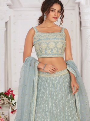Georgette Fancy Aqua Blue Readymade Lehenga Choli