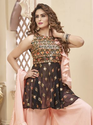 Georgette Fancy Brown and Pink Readymade Suit