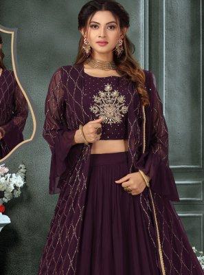 Georgette Fancy Readymade Lehenga Choli in Purple