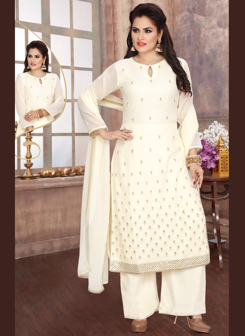 Georgette Fancy Readymade Suit in Off White