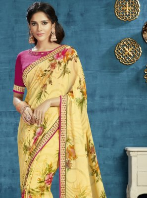 Georgette Floral Print Trendy Saree