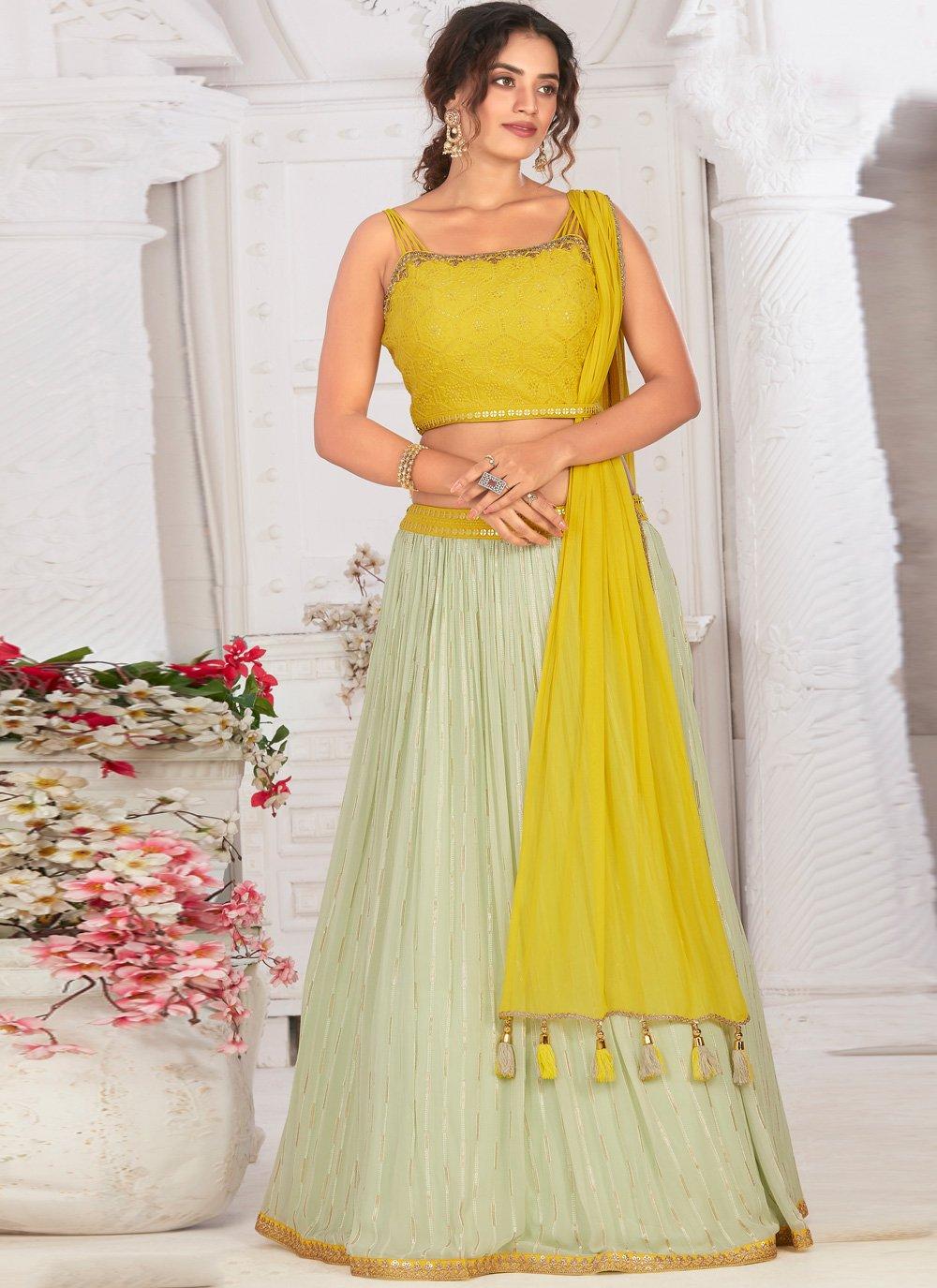 Georgette Green and Yellow Fancy Readymade Lehenga Choli
