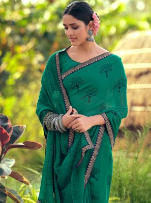 Georgette Green Bollywood Saree