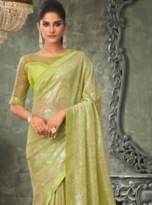 Georgette Green Embroidered Classic Saree