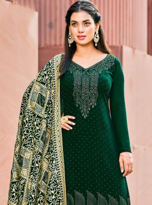 Georgette Green Embroidered Pant Style Suit
