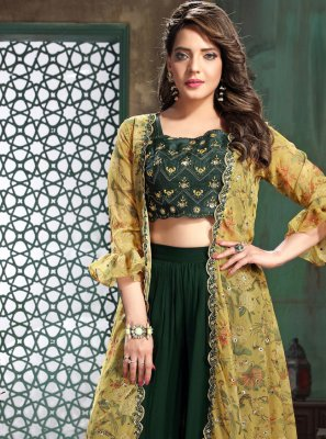 Georgette Green Party Wear Kurti