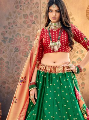 Georgette Green Weaving A Line Lehenga Choli