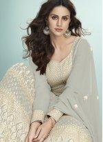 Georgette Grey Anarkali Salwar Kameez