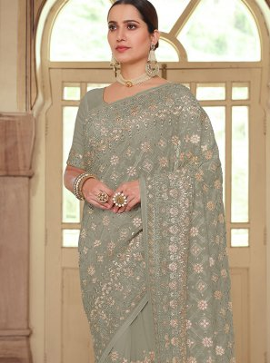 Georgette Grey Embroidered Contemporary Saree
