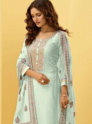 Georgette Handwork Designer Palazzo Salwar Suit in Blue