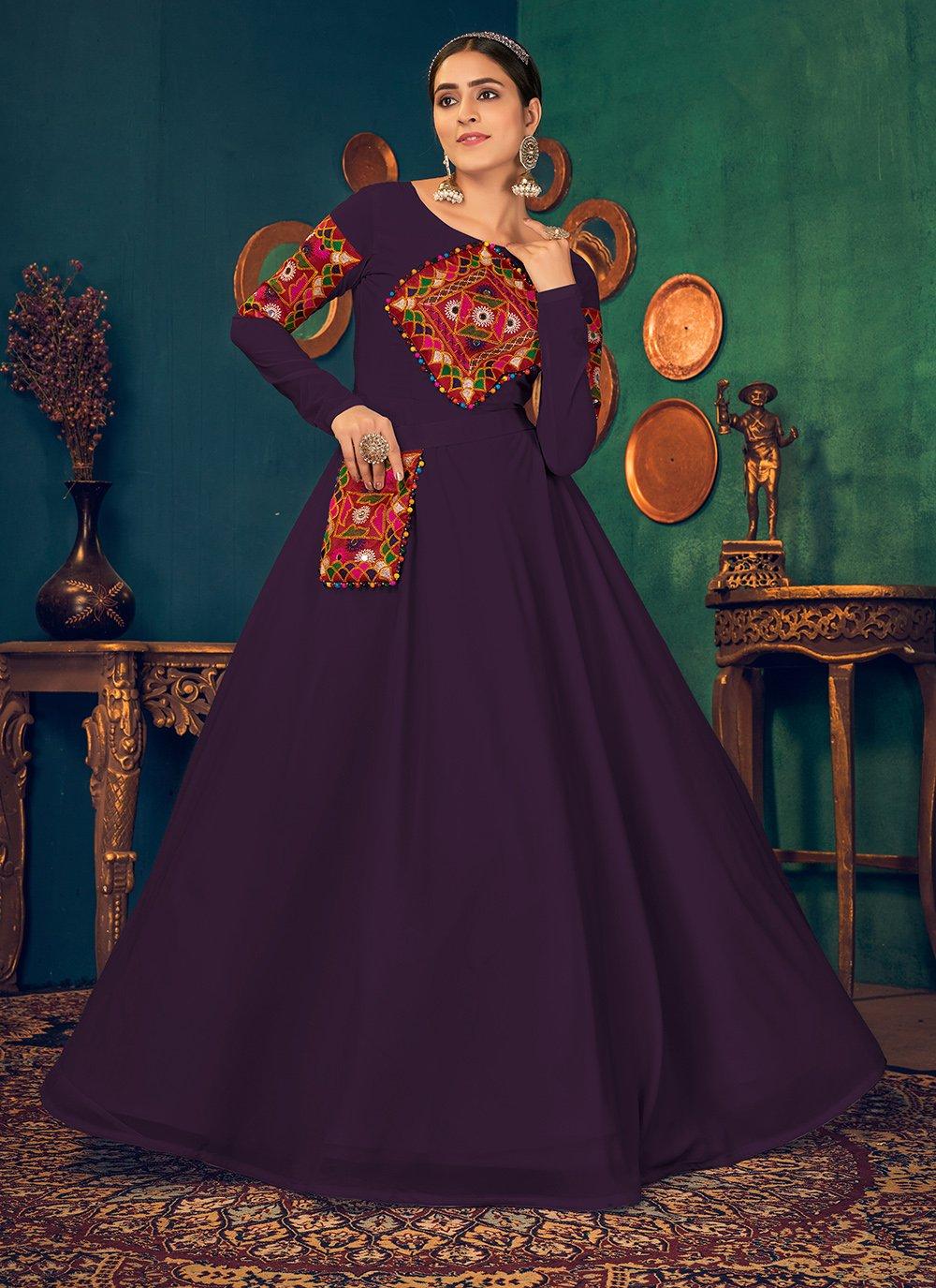 Georgette Mehndi Floor Length Gown