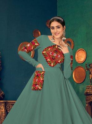 Georgette Mirror Sea Green Floor Length Gown